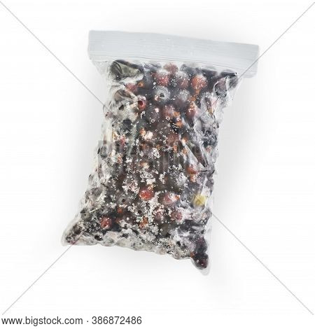 Berries In A Zip Package Frozen And Isolated On A White Background.