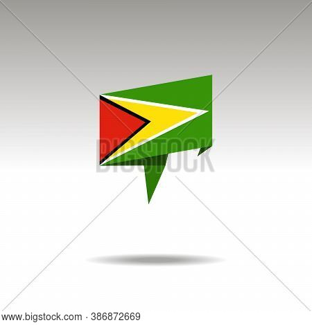 Guyana Paper Flag 3d Realistic Speech Bubble On White Background
