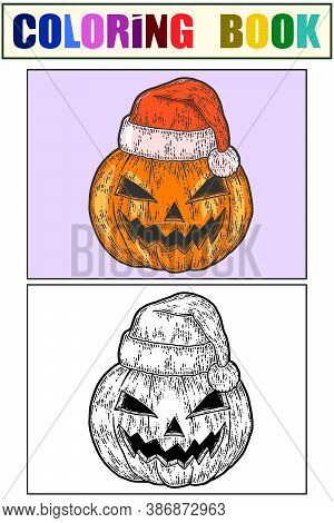 Halloween, Pumpkin Face In Santa Claus Hat. Sketch Set Of Coloring Book And Color For Example.