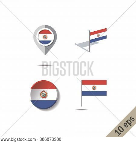 Map Pins With Flag Of Paraguay - Vector Illustration
