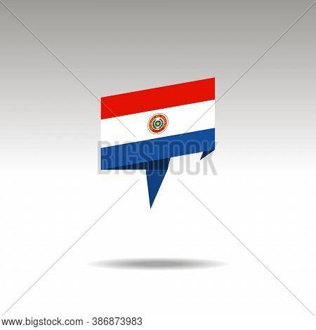 Paraguay Paper Flag 3d Realistic Speech Bubble On White Background
