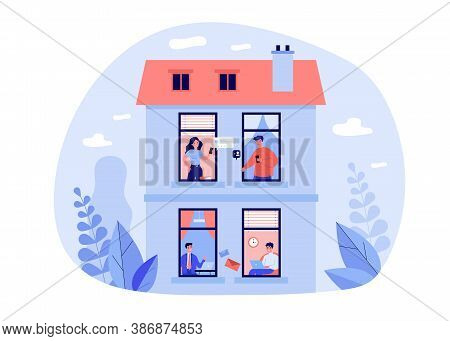 Various People Using Digital Devices In Windows. Laptop, Smartphone, Chat Flat Vector Illustration.