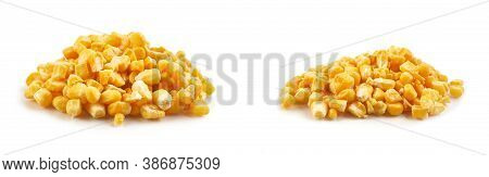 Frozen Heap Of Corn Isolated On White Background, Side View. Preparations For The Winter.