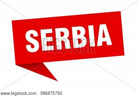 Serbia Sticker. Red Serbia Signpost Pointer Sign