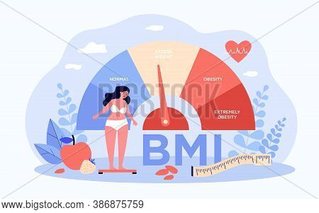 Woman And Obese Chart Scales Isolated Flat Vector Illustration. Cartoon Person On Diet Trying Weight