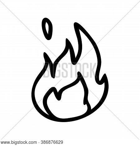 Punk Rock Fire Lineart Vector Illustration. Simple Alternative Sticker Clipart. Kids Emo Rocker Cute