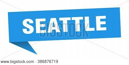 Seattle Sticker. Blue Seattle Signpost Pointer Sign