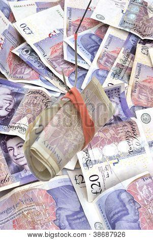 zwanzig Pfund-Noten als Köder