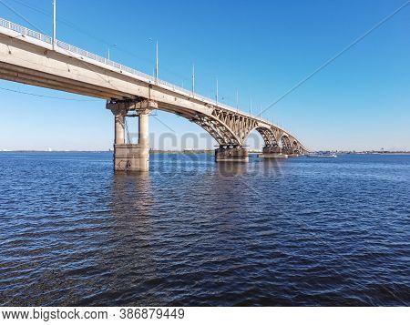 Saratov, Russia - August 01, 2020: Bridge Over The Volga River, Saratov Bridge