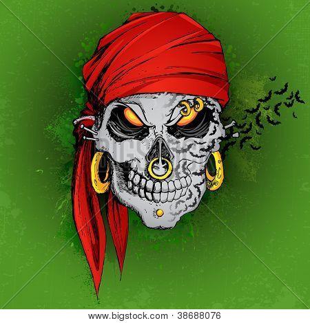 illustration of at flying on scary Halloween skull