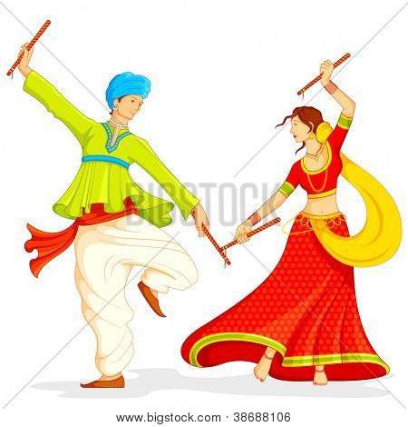 illustration of couple playing dandiya on white background