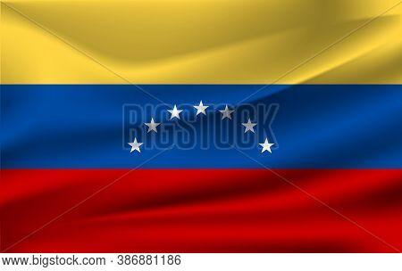 Realistic Waving Flag Of The Waving Flag Of Venezuela, High Resolution Fabric Textured Flowing Flag,