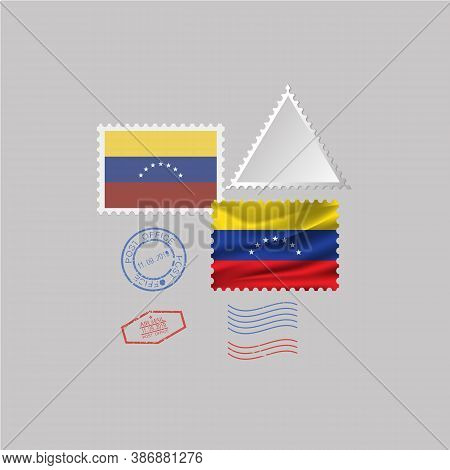 A Set Of Stamps With The Image Of The Flag Venezuela . Vector Illustration On Grey Background.