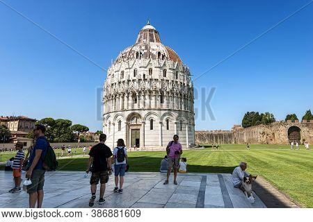 Pisa, Italy - July 29, 2020: Pisa Baptistery (battistero Di San Giovanni) In Romanesque Gothic Style