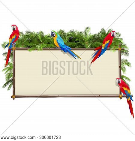 Vector Board With Tropical Parrots Isolated On White Background