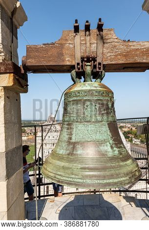 Pisa, Italy - July 29, 2020: Close-up Of One Of The Bells Of The Leaning Tower Of Pisa, Piazza Dei M