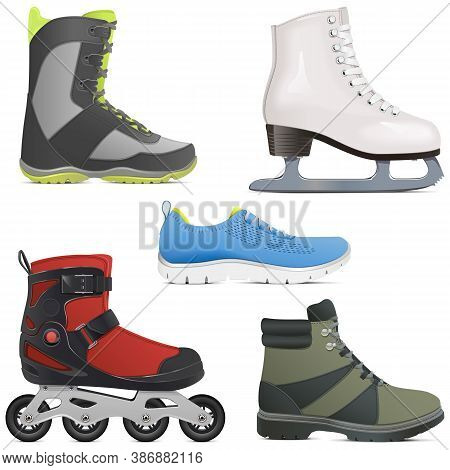 Vector Sport Shoes And Skates Isolated On White Background