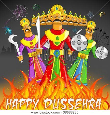 illustration of Raavan Dahan for Dusshera celebration