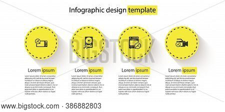 Set Microwave Oven Service, Hard Disk Drive, Oven And Video Camera. Business Infographic Template. V