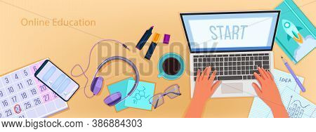Online Education Vector Banner With Home Office Workplace Top View, Laptop, Typing Hands. University