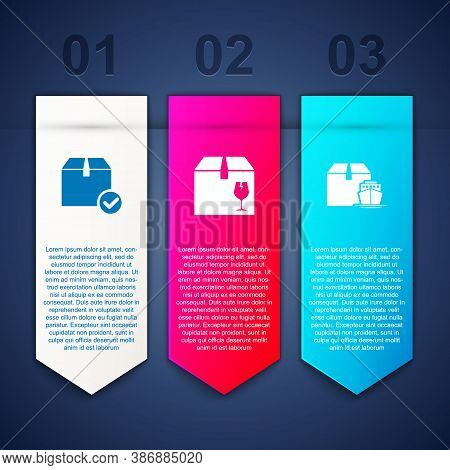Set Package Box With Check Mark, Delivery Fragile Content And Cargo Ship Boxes. Business Infographic