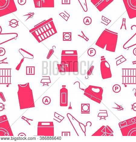 Vector Seamless Pattern Illustration Dry Cleaning, Laundry, Housekeeping Services. Home Appliance. G
