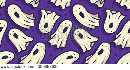 Pattern With Horrible Ghost For Halloween Holiday
