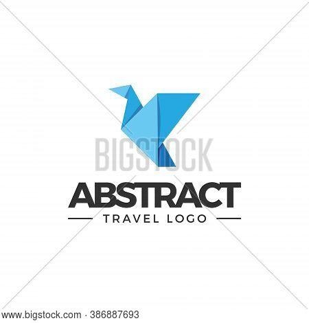 Origami Bird Logo - Paper Art Illustration Design Vector Crane Fly Flying Abstract Animal Shape Geom