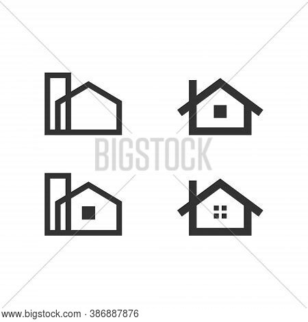 Real Estate Logo House Logo Set Collection - Rent Home Agent Business Property Apartment Office Urba
