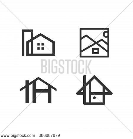Real Estate Logo House Logo - Rent Home Agent Business Property Apartment Office Urban Rent City Sky