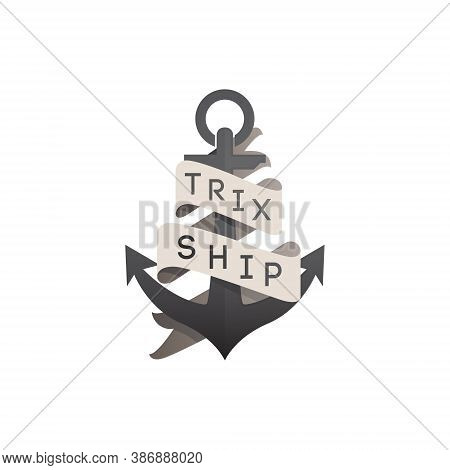 Anchor Vintage Logo Illustration - Nautical Sailor Sail Sea Vector Marine Ship Antique Heavy Equipme