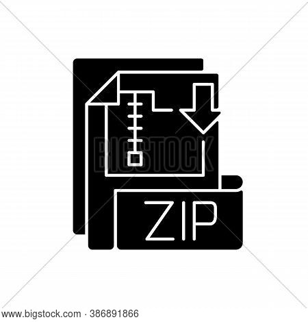 Zip File Black Glyph Icon. Lossless-compression Binary File Format. Encryption, Packaging, File Mana