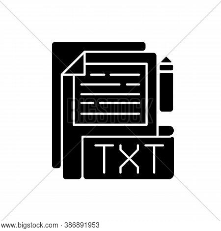 Txt File Black Glyph Icon. File Extension. Simple Text Editors. Information Storing. Plain Text With