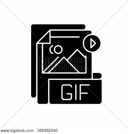 Gif File Black Glyph Icon. Graphic Interchange Format. Filename Extension. Animated Raster Graphics