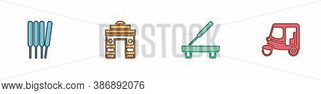 Set Aroma Sticks, Incense, India Gate Delhi, Scented Spa And Taxi Tuk Tuk Icon. Vector