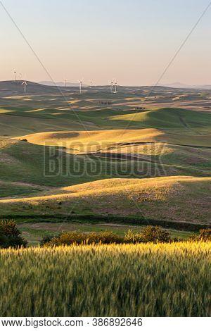 Wind Turbines Farm In Rolling Wheat Field In In Palouse Region, Washington, Usa