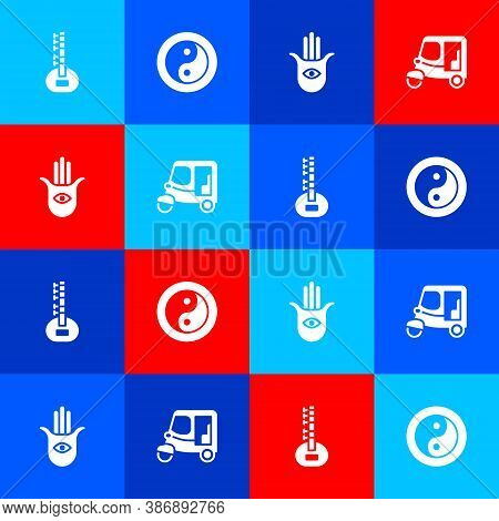 Set Sitar, Yin Yang, Hamsa Hand And Taxi Tuk Tuk Icon. Vector
