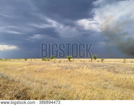 Stormy Sky In The Field, Thunderstorm In The Steppe, Fire In The Steppe