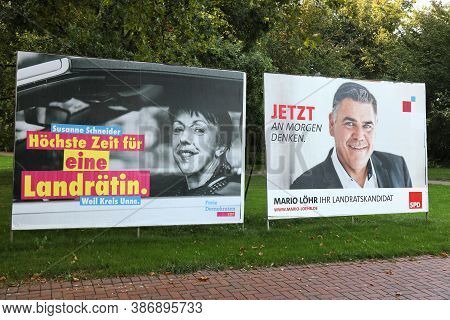 Holzwickede, Germany - September 16, 2020: Election Posters Of Fdp And Spd Politicians Before Runoff