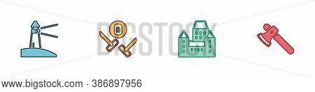 Set Lighthouse, Curling Sport Game, Chateau Frontenac Hotel And Wooden Axe Icon. Vector