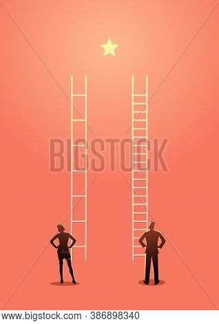 Business Vector Illustration Of Unfair Competition Between Businesswoman And Businessman, Inequality
