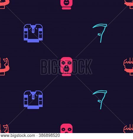 Set Scythe, Embroidered Shirt, Thief Mask And Monument To Founders Of Kiev On Seamless Pattern. Vect