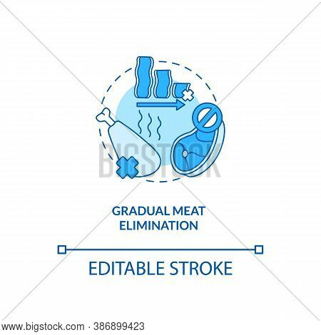 Gradual Meat Elimination Concept Icon. No Meat In Cooking Meals. Healthy Culinary. Becoming A Vegeta
