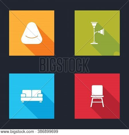 Set Pouf, Floor Lamp, Sofa And Chair Icon. Vector