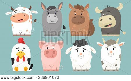 Cute Collection Of Farm Animals. Vector Characters In Flat Cartoon Style. Cheerful Cow, Donkey, Hors