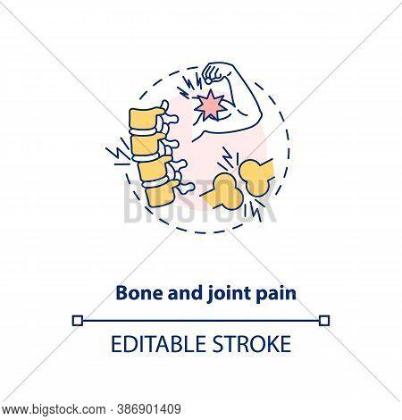 Bone And Joint Pain Concept Icon. Vitamin Shortages Symptom Idea Thin Line Illustration. Arthritis,