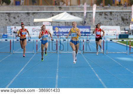 Istanbul, Turkey - September 12, 2020: Athletes Running 400 Metres Hurdles During Balkan U20 Athleti