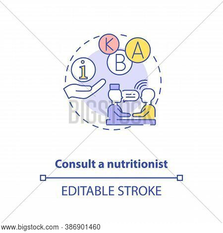 Consultation With Nutritionist Concept Icon. Adequate Vitamins Intake Idea Thin Line Illustration. E