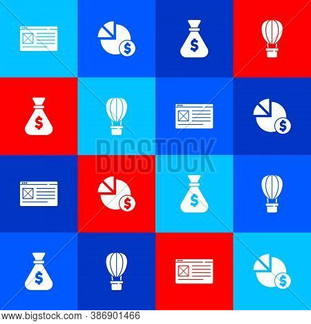 Set Browser Window, Pie Chart And Dollar, Money Bag And Hot Air Balloon Icon. Vector
