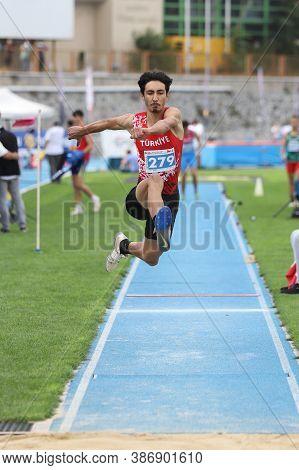 Istanbul, Turkey - September 13, 2020: Undefined Athlete Triple Jumping During Balkan U20 Athletics